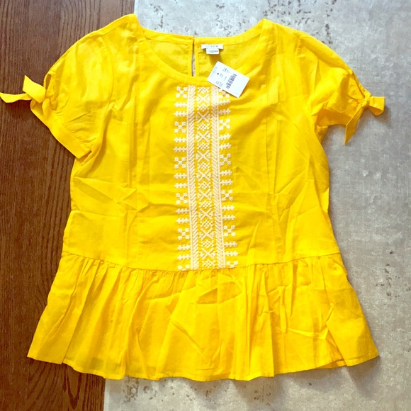 ab995b19a2681 J. Crew yellow embroidered peplum top sz 0